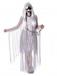 Disfarce de fantasma branco mulher Halloween