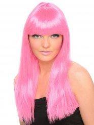 Peruca comprida com franja cor-de-rosa mulher