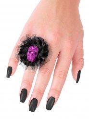 Anel preto e lilás caveira Halloween