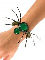 Pulseira gótica aranha pedras verdes Halloween