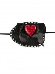 Pala olho de pirata strass e coração preta e vermelha 7 x 5 cm