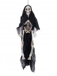 Decoração esqueleto capa preta Halloween
