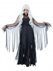 Disfarce fantasma elegante Halloween mulher preta