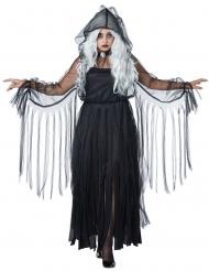 Disfarce elegante fantasma Halloween preto tamanho grande mulher