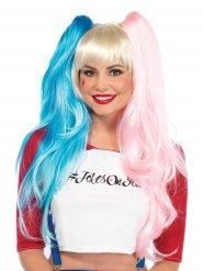Peruca de arlequim cor-de-rosa e azul mulher