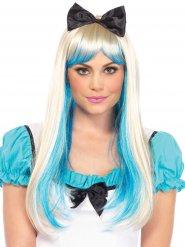 Peruca luxo princesa loira e azul com laço mulher