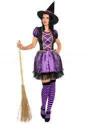 Disfarce bruxa lilás e preta mulher Halloween