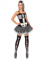 Disfarceesqueleto sexy mulher Halloween
