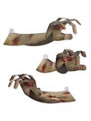 Decoração mão de zombie cinzenta em 3D Halloween