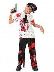 Disfarce polícia zombie ensanguentado criança Halloween