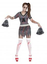 Disfarce pom-pom girl zombie Halloween mulher
