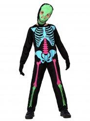 Disfarce esqueleto colorido criança Halloween