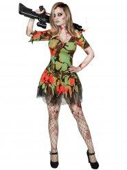 Disfarce militar zombie mulher Halloween