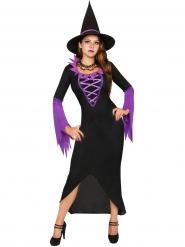 Disfarce bruxa feiticeira lilás e preta