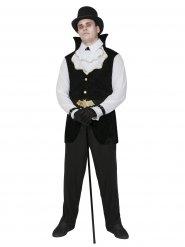 Disfarce vampiro gentleman Drácula preto e branco Halloween