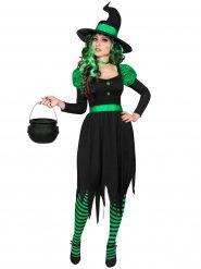 Disfarce bruxa verde e preta mulher Halloween