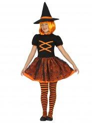 Disfarce de bruxa cor de laranja e preto menina Halloween