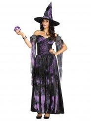 Disfarce bruxa lilás mulher Halloween