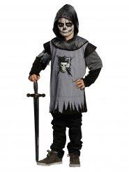 Disfarce de cavaleiro gótico preto cinzento criança
