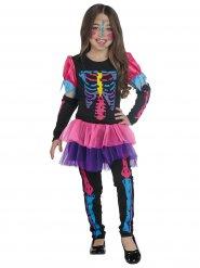 Disfarce esqueleto colorido fluo menina Halloween