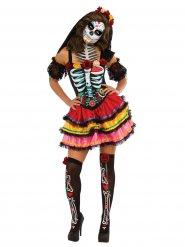 Disfarce Dia de los muertos colorido Halloween