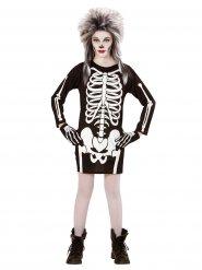 Disfarce esqueleto preto e branco menina Halloween