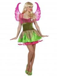 Disfarce fada mágica verde e cor-de-rosa mulher