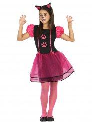 Disfarce de gato preto e cor-de-rosa menina