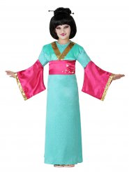 Disfarce geisha verde e cor-de-rosa menina