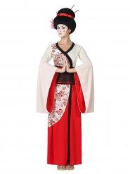Disfarce geisha vermelha e branca mulher