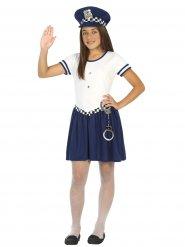 Disfarce polícia menina azul e branco