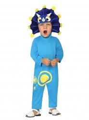 Disfarce dinossauro azul engraçado criança