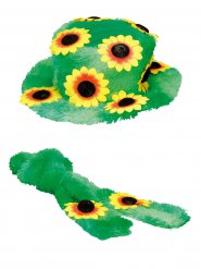 Chapéu e cachecol às flores hippie adulto