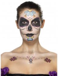 Kit de maquilhagem flores azuis mulher Dia dos Mortos
