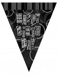 Grinalda bandeirolas cinzentas Happy Birthday