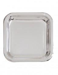 8 Pratos quadrados de cartão metalizado prateado 23 cm