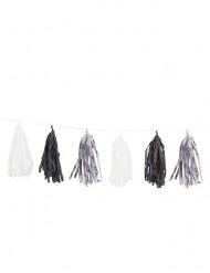 Grinalda 15 tassels prateados pretos e brancos 2,74 cm