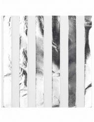 16 Guardanapos de papel  brancos e prateados 33 x 33 cm