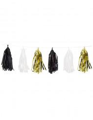 Grinalda 15 tassels dourados pretos e brancos 2,74 cm