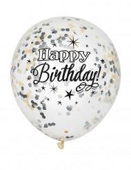 6 Balões latex confetis Happy Birthday prateados e dourados