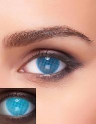 Lentes fantasia UV xadrez azul adulto