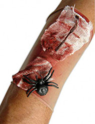 Manguito ferida sangrenta com aranha adulto Halloween
