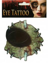 Tatuagem de zombie para olho Halloween adulto