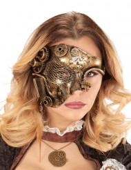 Meia-máscara dourada mecânica adulto Steampunk