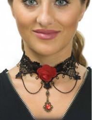 Colar renda preta e rosa vermelha mulher Dia de los muertos