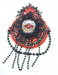 Mini chapéu vermelho e preto Dia de los muertos mulher