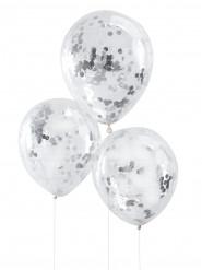 5 Balões confetis prateados 30 cm