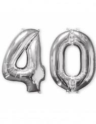 Lote de 2 balões alumínio número 40 prateado