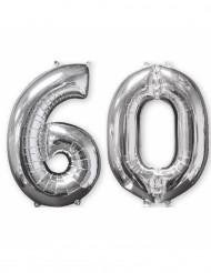 Lote de 2 balões alumínio número 60 prateado