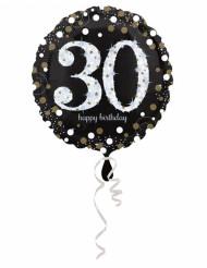 Balão alumínio Happy Birthday cintilante 30 anos